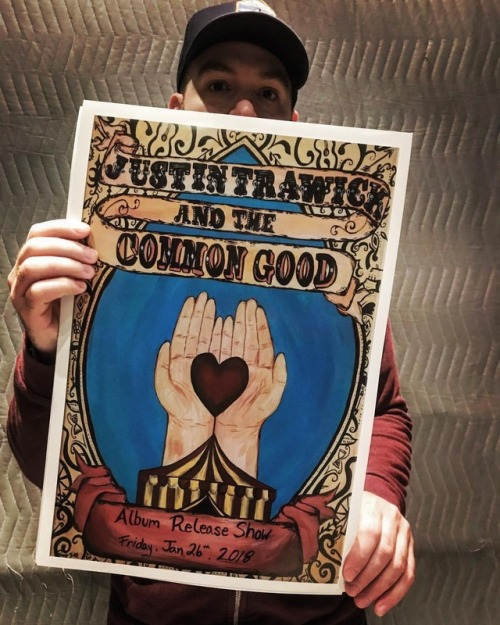 Justin Trawick with his Album Release Poster