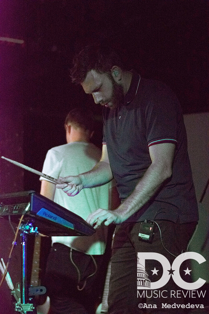 Dominic of Mount Kimbie playing electronic drums