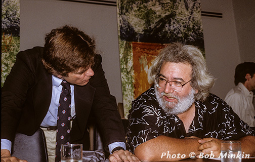 Dennis McNally with Jerry Garcia at the United Nations (c) Bob Minkin