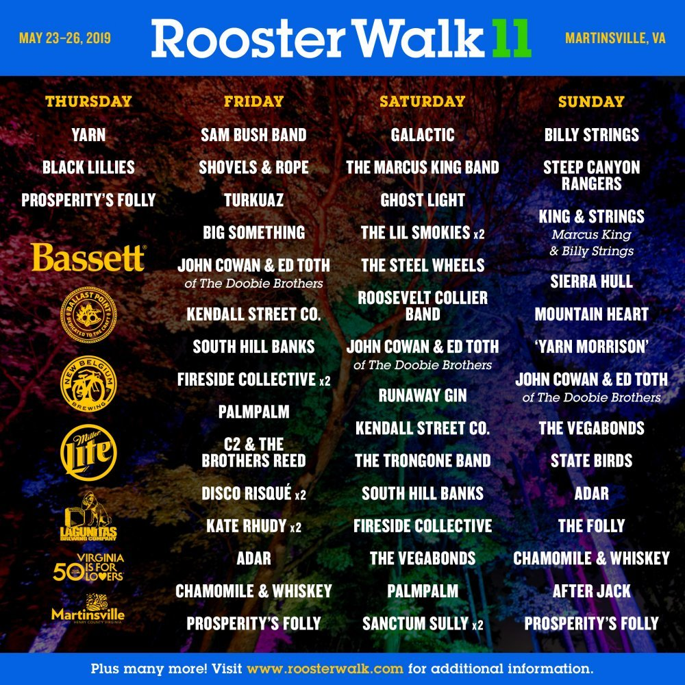 Rooster Walk 2019 Schedule