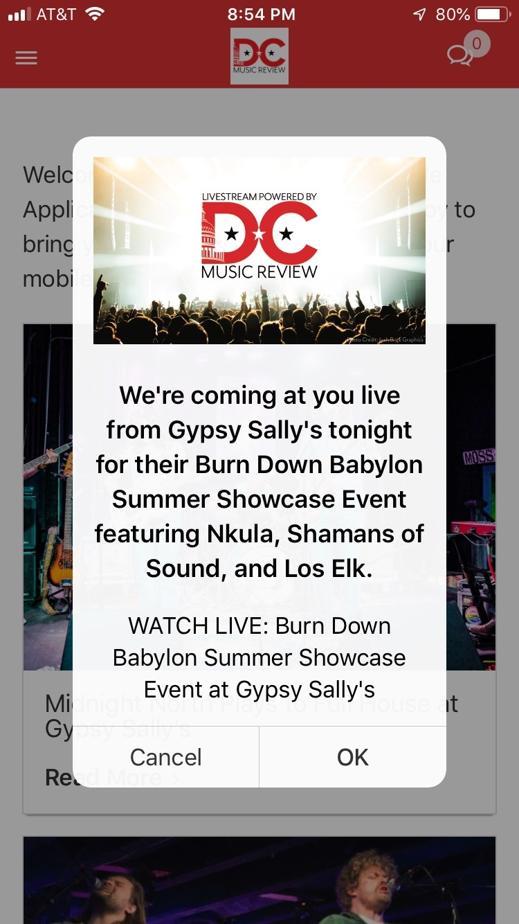 DC Music Review Application Notifications