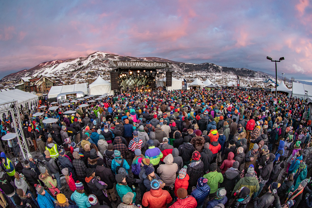 A crowded and foot stomping crowd at Winter WonderGrass (Photo Credit: Dylan Langille)